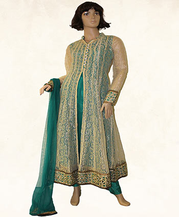 CHURIDAR SUIT   :   NET & POLYESTER